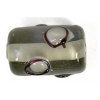 Glass Lamp Bead 13x9mm Roller Black Diamond